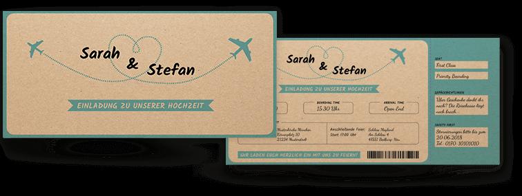 Hochzeitseinladung: Vintage-Flugticket auf Kraftpapier