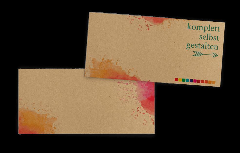 Kraftpapier-Einladung Querformat selbst gestalten | Din-lang