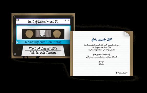 Einladung Retro Kassette