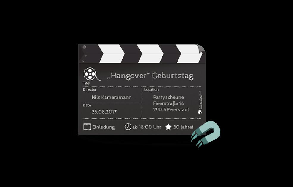Kühlschrankmagnet - Einladungskarte Film Ab