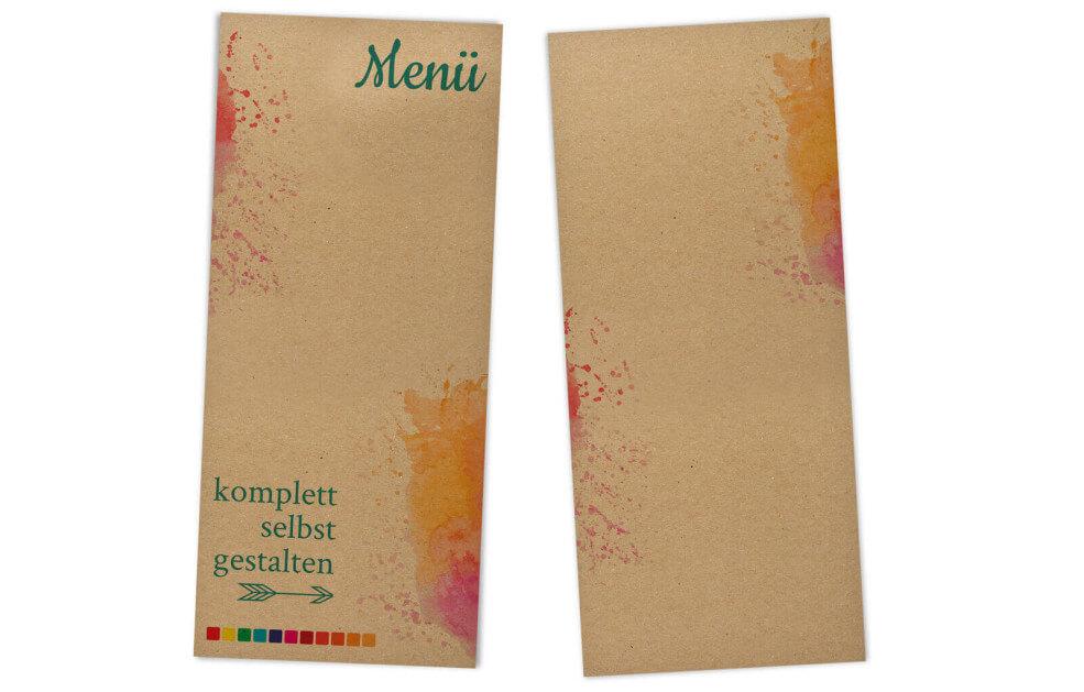 Menükarten Kraftpapier selbst gestalten