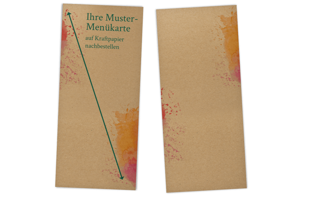 Musternachbestellung Menükarte auf Kraftpapier