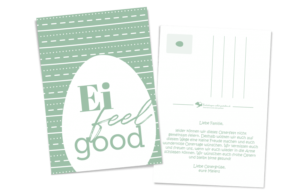 Ei-feel-good Ostergrußkarte - als Postkarte