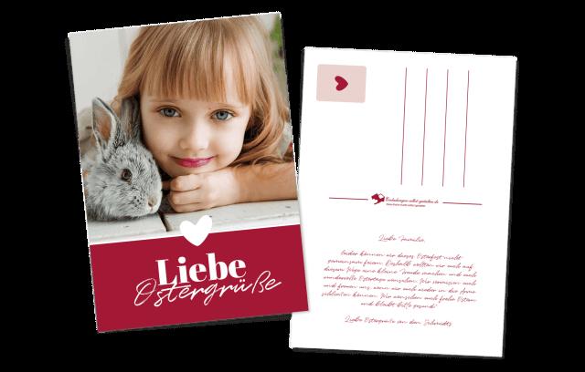 Liebe Ostergrüße - Postkarte mit großem Bild