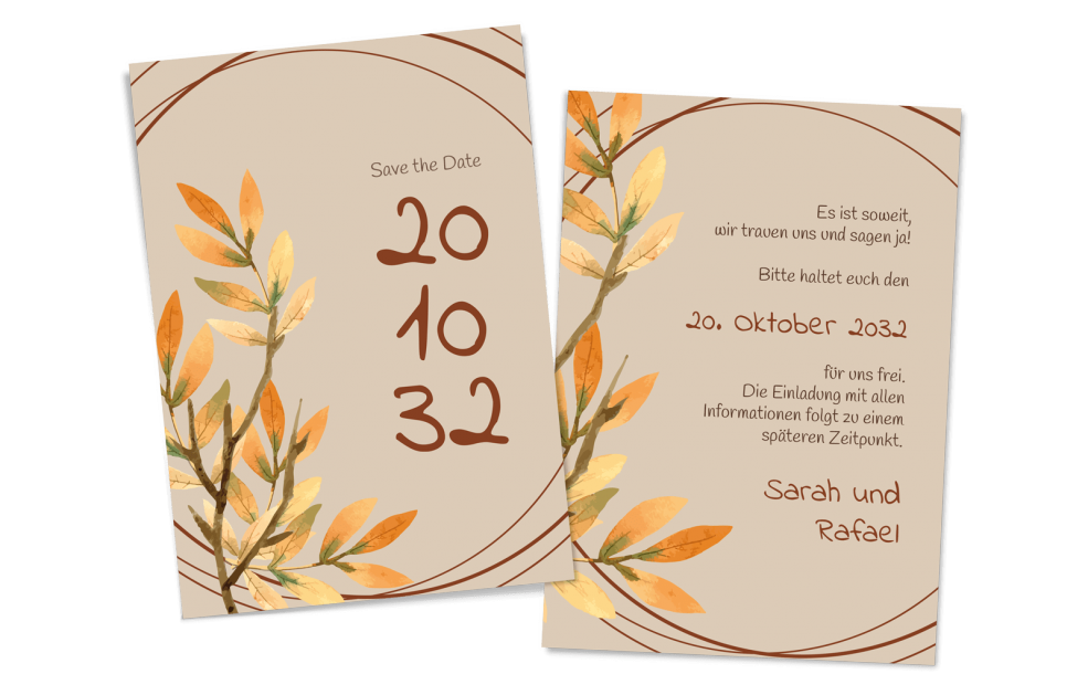 Save the Date Karte goldener Herbst