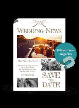 SavetheDate Magnetkarte - Hochzeitszeitung