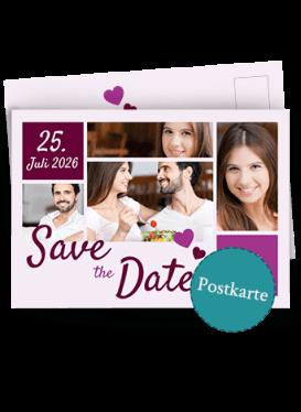 Save-the-Date-Karte mit vielen Bildern