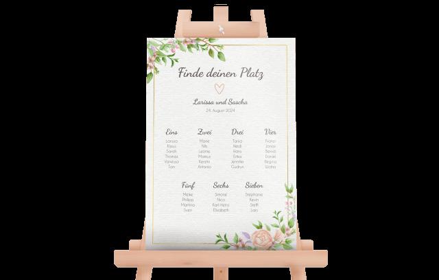 Sitzplan mit Aquarell-Vintageblumen