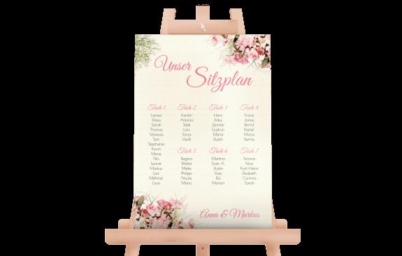 Sitzplan Vintage Blumen für Ihre Hochzeit