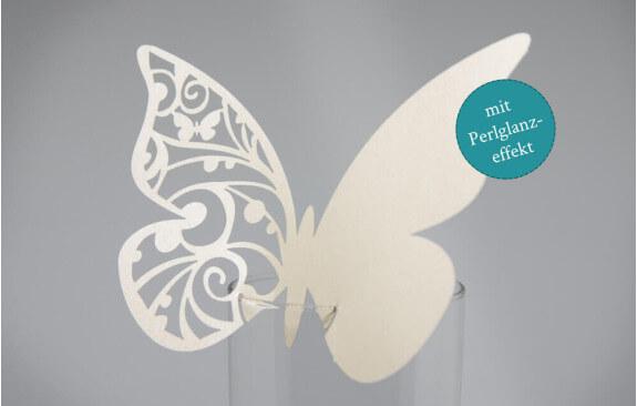 """Hochzeits-Tischkarten """"Schmetterling""""– Creme (25 Stück)"""