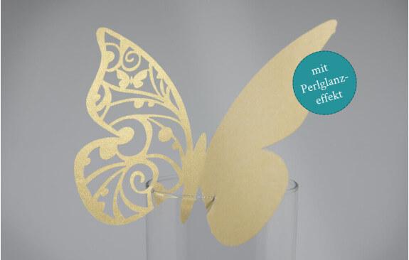 """Hochzeits-Tischkarten """"Schmetterling""""– Gold (25 Stück)"""