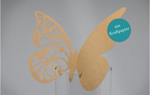 """Hochzeits-Tischkarten """"Schmetterling""""– Kraftpapier (25 Stück)"""