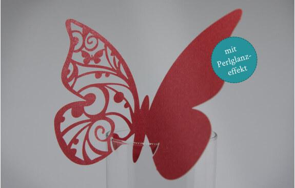 """Hochzeits-Tischkarten """"Schmetterling""""– Rot (25 Stück)"""