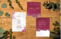 Acryl Hochzeitskarte – Aquarell Purpur