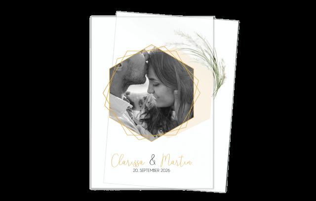 Hochzeitseinladung Acryl – Pampasgras + Foto