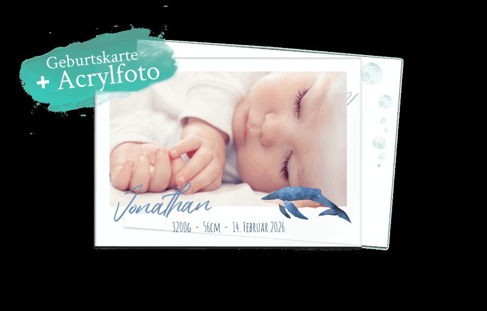 Blauwal – Geburtskarte Acrylglas