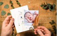 Babykarte aus Acrylglas – kleiner Regenbogen