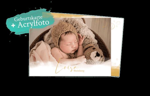 Himmlische Geburtskarte - Acrylkartenset