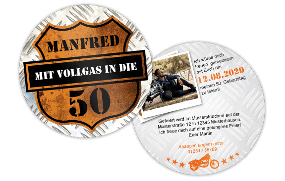 Einladung Biker Bierdeckel