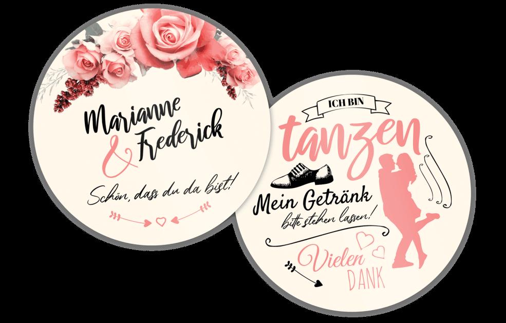 """Bierdeckel für Hochzeitsfeiern """"tanzen"""""""
