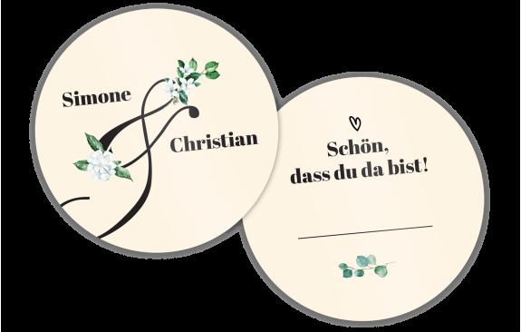 Hochzeitsuntersetzer Platzkarte – Schön, dass du da bist