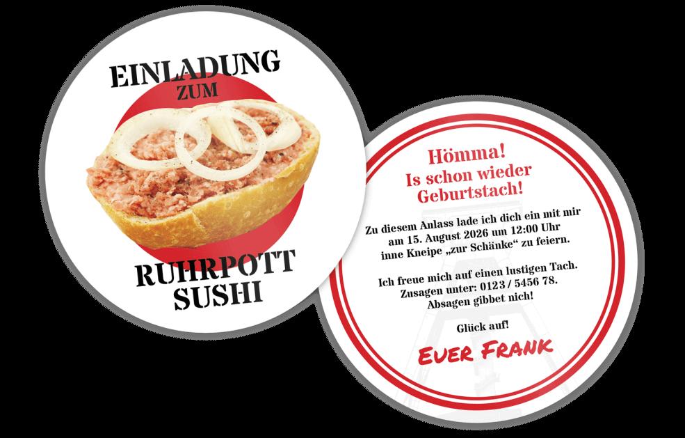 Einladung Ruhrpott-Sushi Bierdeckel