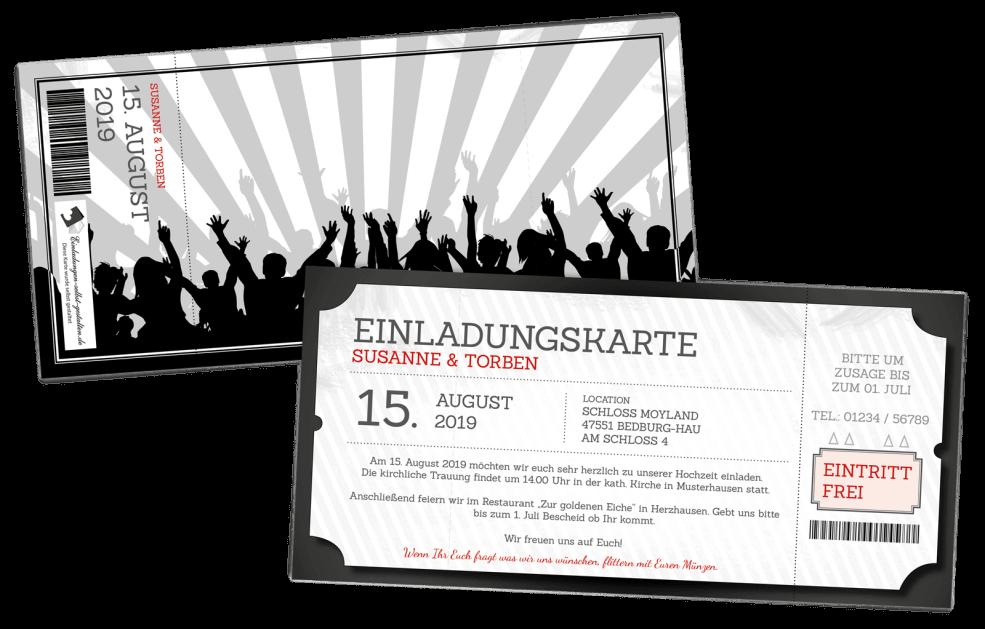 Einladung Eintrittskarte Festival
