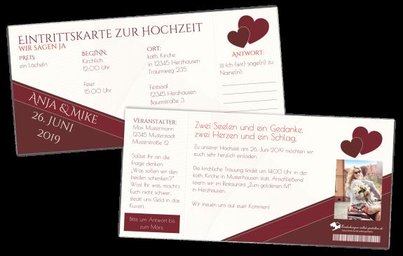 Einladung Hochzeit-Ticket