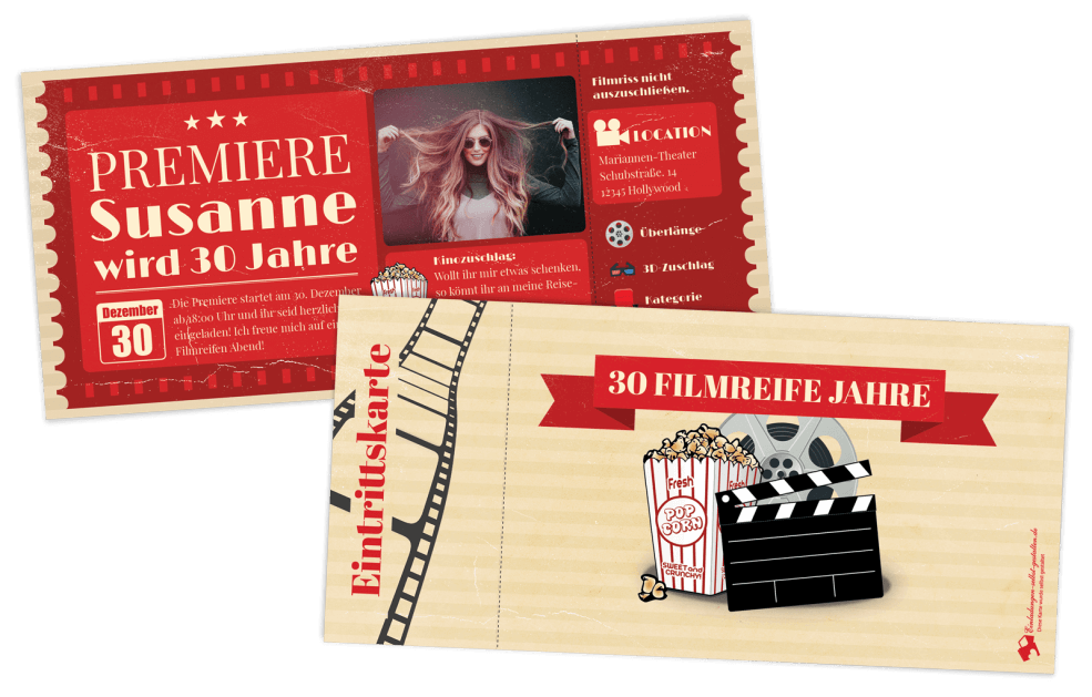 Kinokarte als Einladung