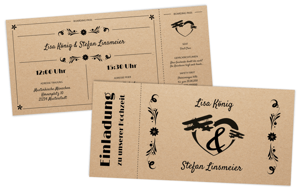 Retro Eintrittskarte auf Kraftpapier