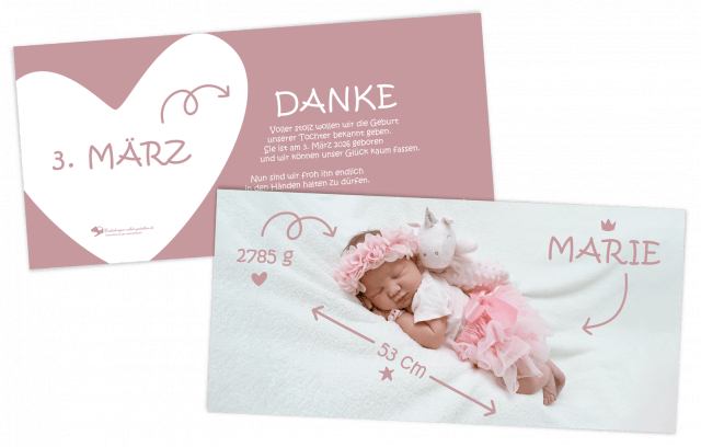 Geburtskarte DIN-Lang Babymaße