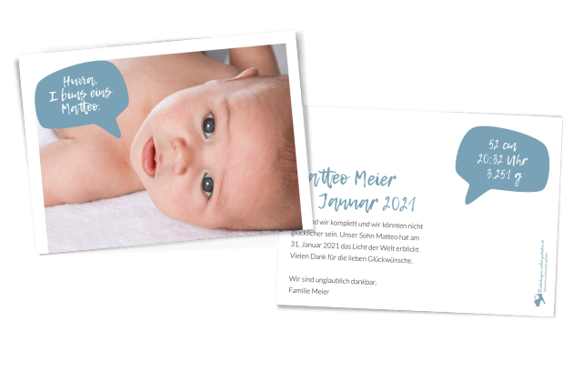 Sprechblase Geburtskarte