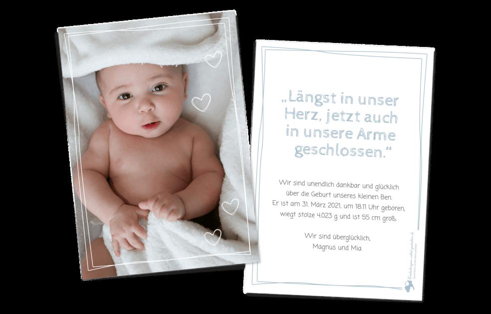 Gezeichneter Rahmen Geburtskarte