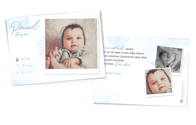 Aquarell Geburtskarte für Jungs