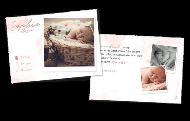 Aquarell Geburtskarte für Mädchen