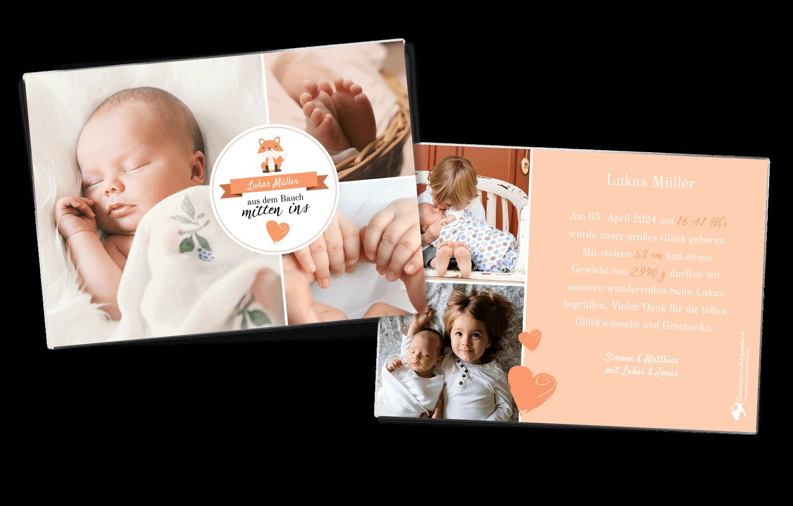 Geburtskachel mit Foto und Text hochwertiges Geschenk