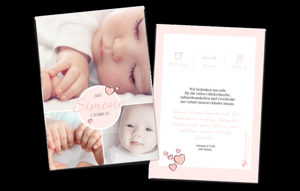 Bildreiche Babykarte Zartrosa