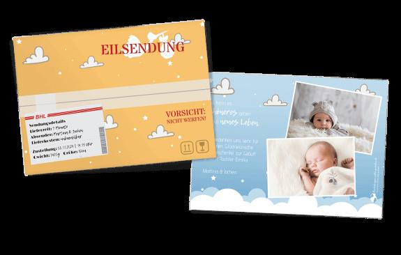 Eilsendung Geburtskarte