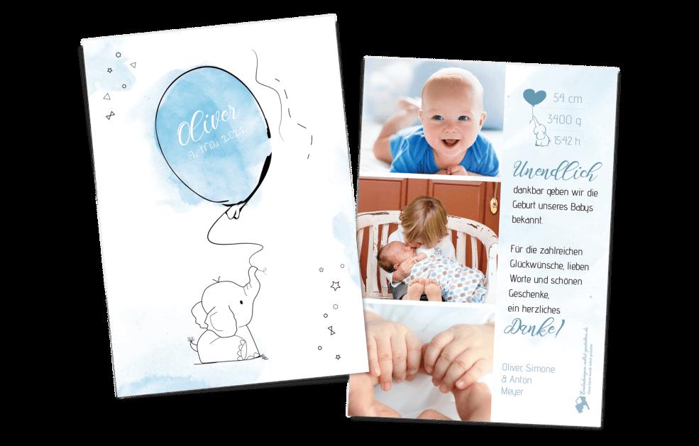 Geburtskarte Babyelefant