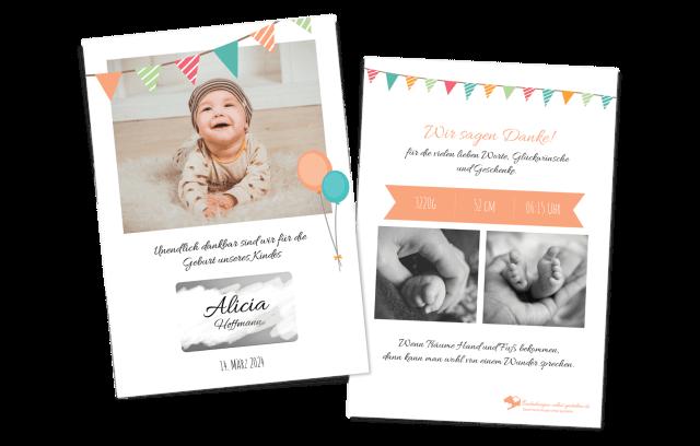 """Geburtskarte mit Rubbellos """"Überraschung"""""""