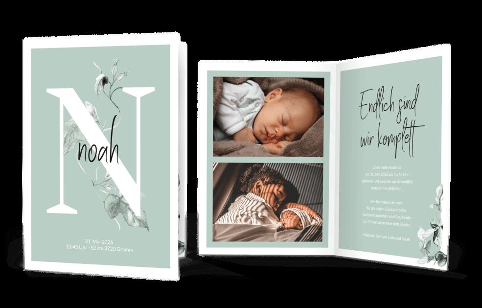 Geburtskarten Buchstabe Efeu