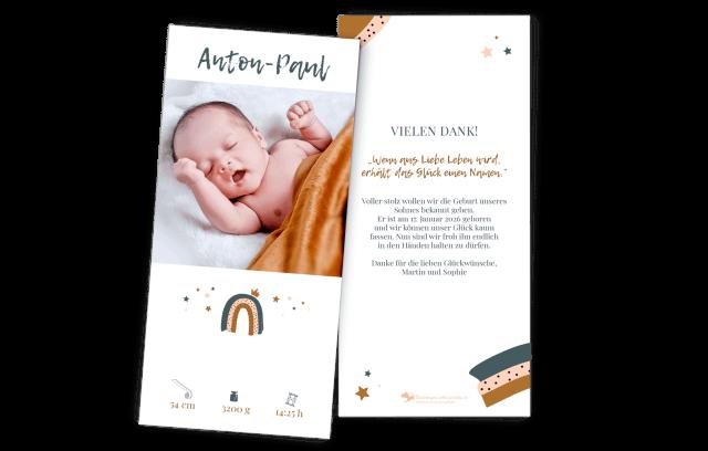 Babykarte – kleiner Regenbogen