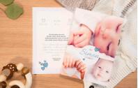 Bildreiche Babykarte Blaugrau