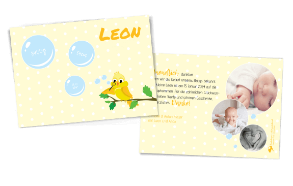 Vogelzwitschern Geburtskarte