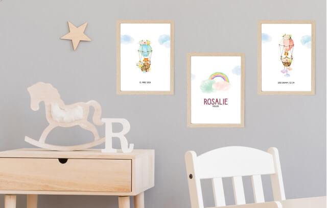 Gezeichnete Babytiere – Geburtsposter-Set