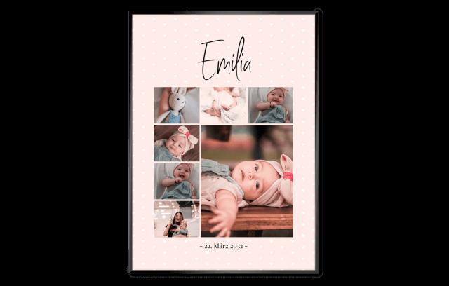 Geburtsposter – Traumcollage Rosa