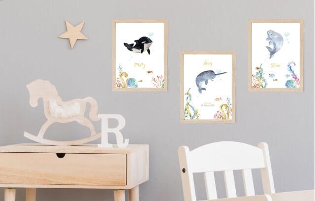 Unterwasser – Geburtsposter-Set