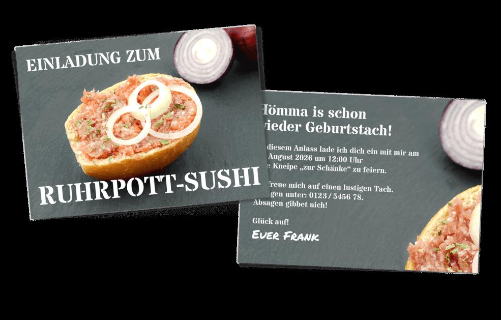 "Ruhrpott-Geburtstagskarte ""Rurhpott-Sushi"""