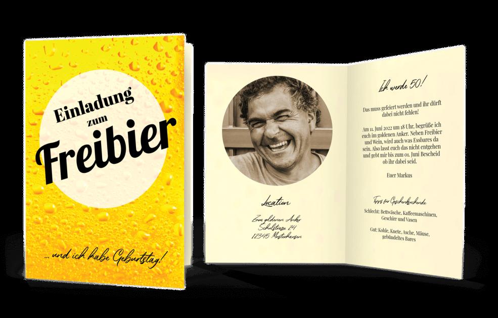Freibier - Einladungskarte