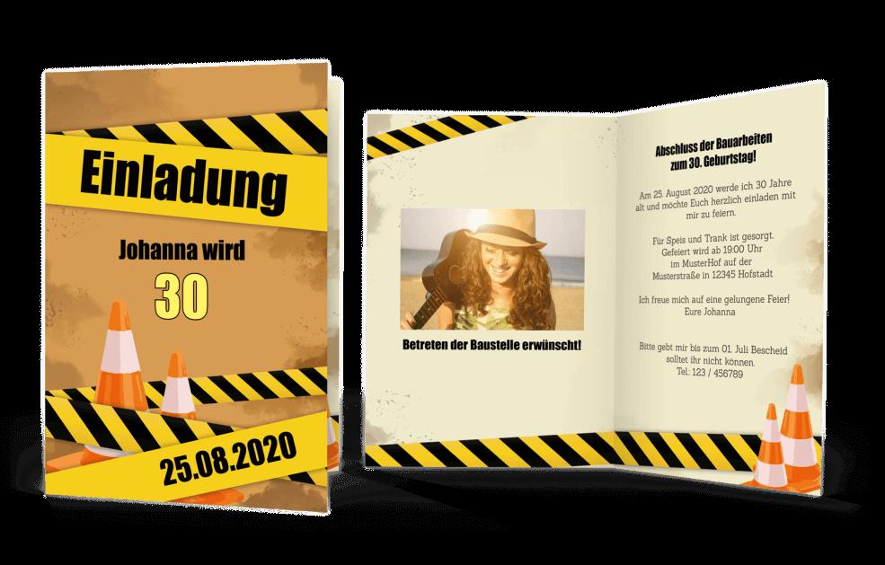 Einladungskarte Baustelle